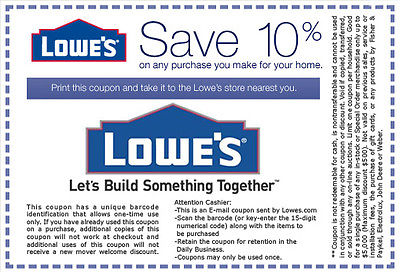 Lowe's Dwelling Improvement 10% Off Coupons Are Helping Households All Across America Save Large ...