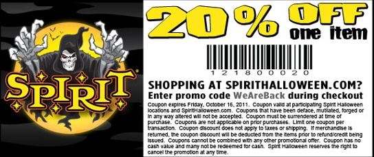 graphic relating to Spirit Halloween Coupon Printable called Spirit halloween coupon code delivery : Coupon bug channel 19
