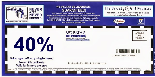 Note: Bed Bath and Beyond takes expired coupons. Just use the printable coupon in your local store.