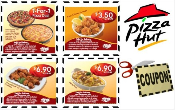How to use a Pizza Hut coupon Order online at Pizza Hut and pay only $10 for any pizza, any size and with any toppings you choose. Online printable coupons can be found for up to 50% off meal deals, 20% off for first time online customers and more.