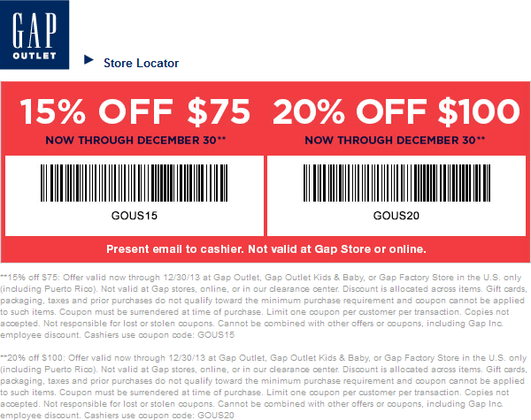 Coupons for retail stores