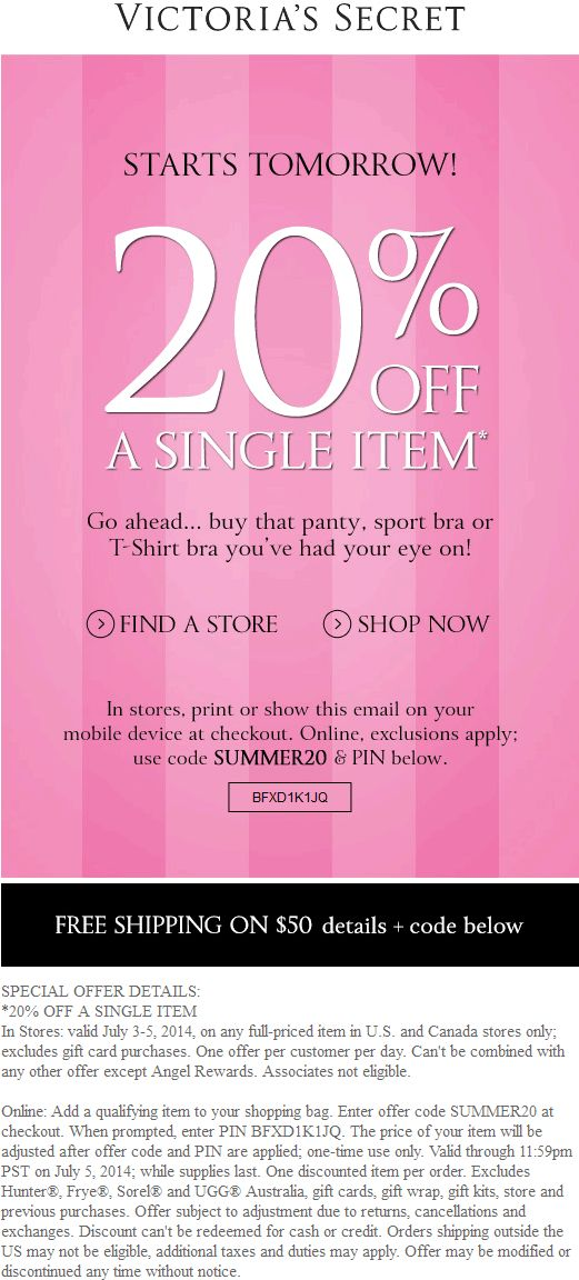 Unlike most stores, Victoria's Secret lets you stack on the coupons. The Krazy Coupon Lady breaks it down into three categories that you can stack online and in stores: * Free shipping: Any code.