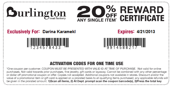 Burlington Coat Factory offers Free Shipping with Burlington Coat Factory 20 Coupons. Find Burlington Coat Factory coupon code at here!