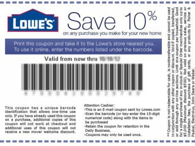 graphic about Lowes 10% Printable Coupon titled Lowes Coupon Codes
