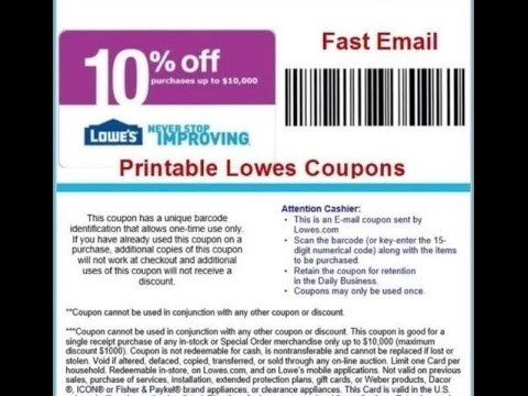 image about Lowes 10% Printable Coupon named LOWES Retail Discount codes Printable Coupon codes On the net
