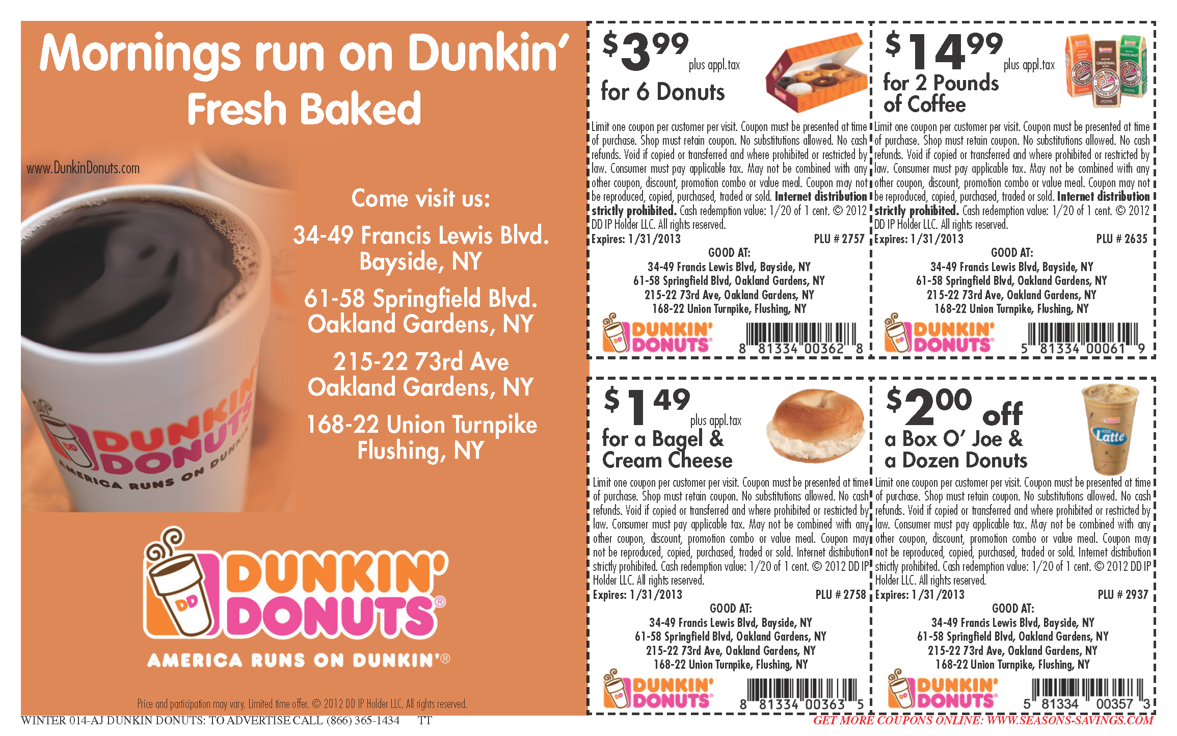 photograph about Printable Coffee Coupons identify Dunkin Donuts Espresso coupon codes april-may possibly (1) Printable