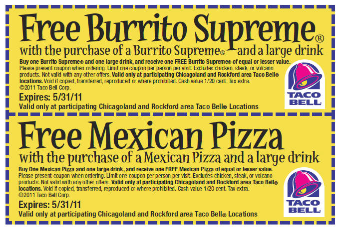 image about Taco Bell Printable Coupons identified as Utilizing Taco Bell Coupon codes Printable Discount codes On-line
