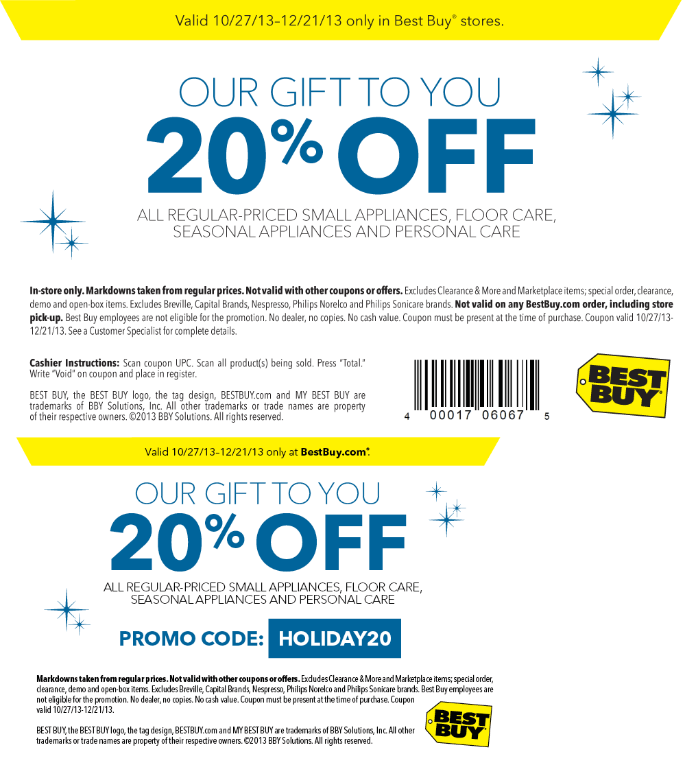 Best Buy Coupon july-2017 20% off small appliances at Best Buy, or online