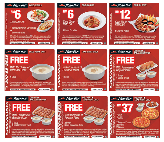 Coupon codes for pizza hut