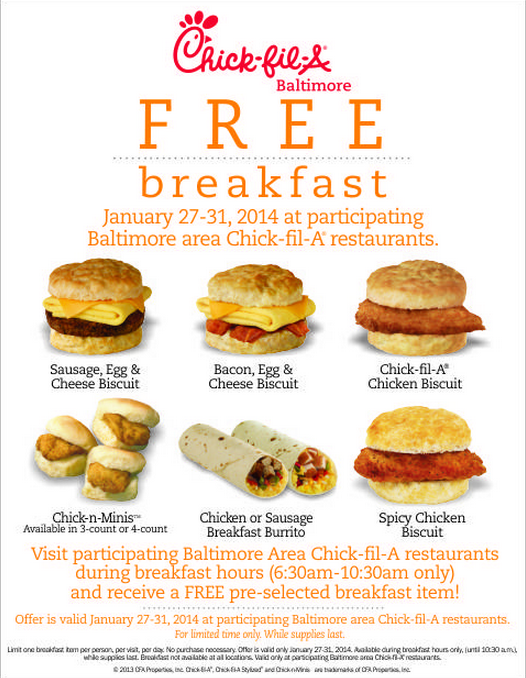 graphic about Chick Fil a Menu Printable named Printable August Absolutely free Products Chick fil a Discount codes Printable