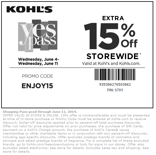 "Oct 04,  · 15% Kohls Mobile Coupon – Text ""SAVE07"" To KOHLS Within 1 Day Kohl's will text you a code to save 15% on your next purchase in store or online. Get A Kohls Charge Card For Extra Bonus Coupons Save 25% on your first purchase + an additional 15% coupon will arrive with your new card/5()."