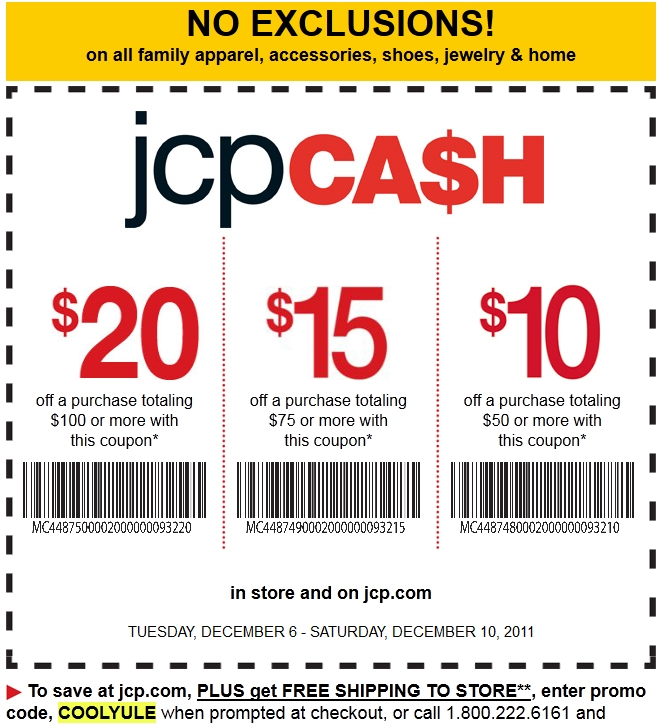 code-free JCPenney Coupons for october 2017