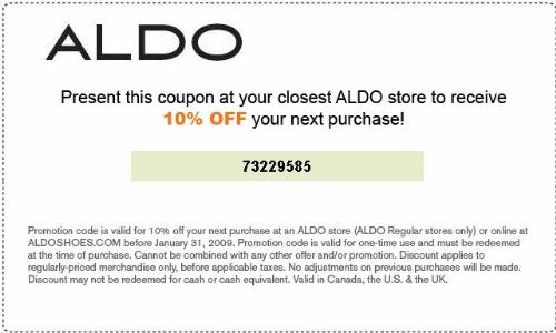photo relating to Aldo Printable Coupon named cost-free-down load-aldo-discount coupons-on the internet Printable Coupon codes On line