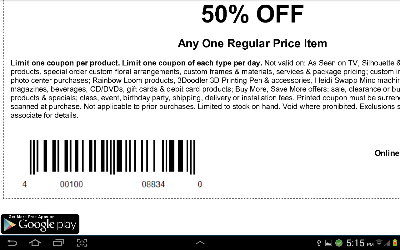 Printable Michaels Coupons Printable Coupons Online