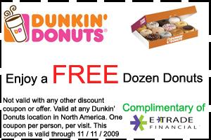 dozen donnts free-dunkin donuts