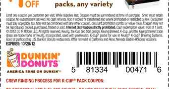 picture about Printable K Cup Coupons named dunkin-donuts-k-cup-coupon-2018 Printable Discount coupons On-line