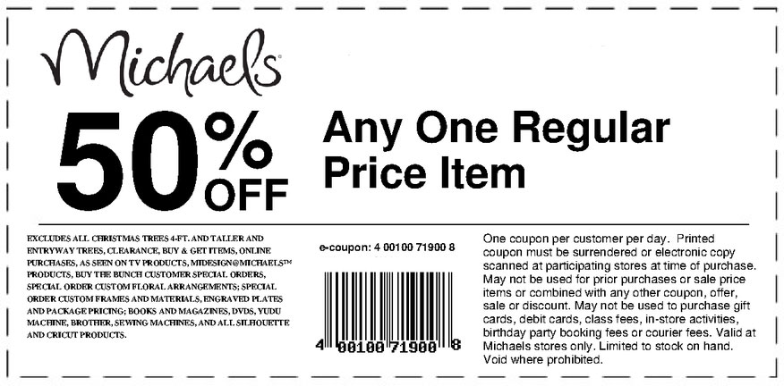Michaels Printable Coupons 2017