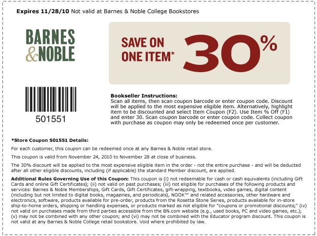 save money printable barnes and nobles coupons