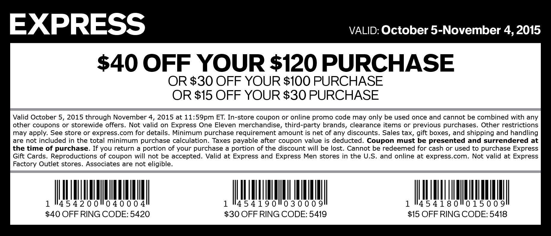 coupons for express