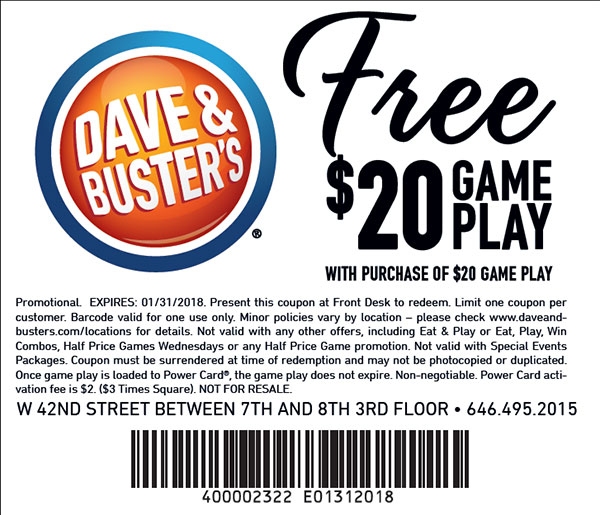 graphic relating to Dave and Busters Printable Coupons called 2019 Dave and Busters Coupon codes Printable Coupon codes On line