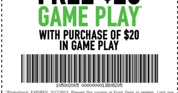 image relating to Dave and Busters Printable Coupons referred to as Dave And Busters: Cost-free $20 Recreation Engage in Printable Coupon Http