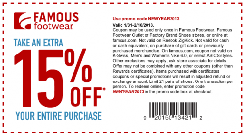 graphic regarding Famous Footwear Coupons Printable identify Renowned Shoes 15% Off Coupon Printable Discount coupons On-line