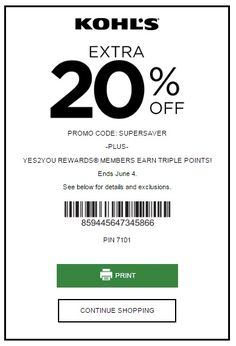 Kohl S New 20 Off July Coupons Printable Coupons Online