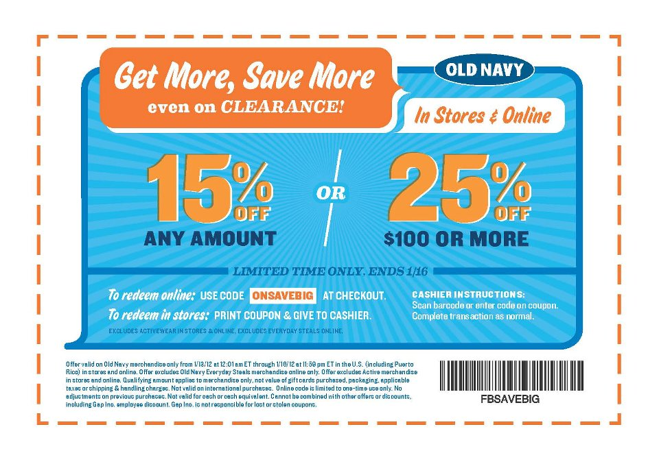 It is a photo of Superb Old Navy Printed Coupons