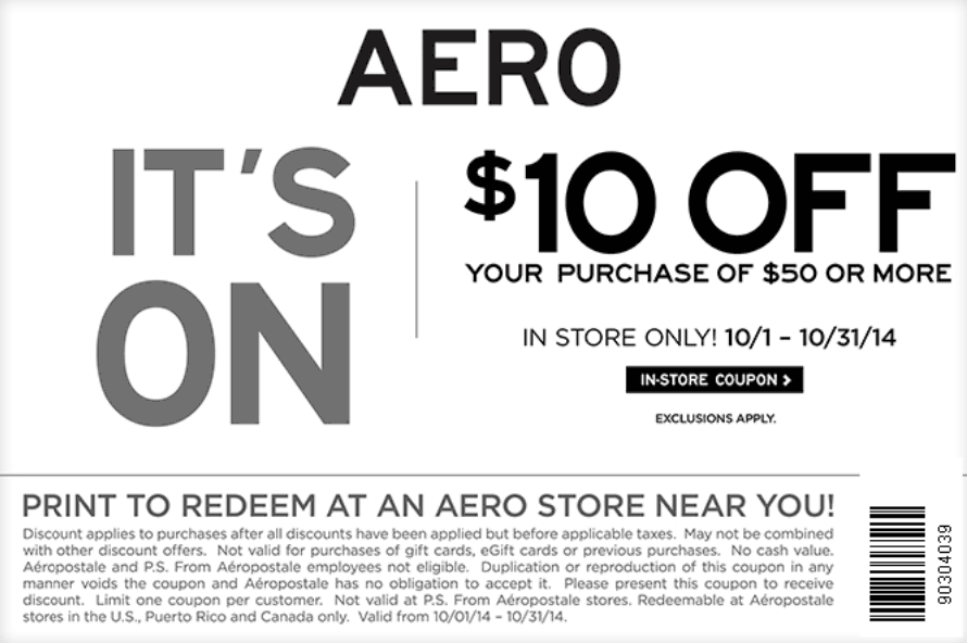 Aeropostale coupon codes and deals for June 12222