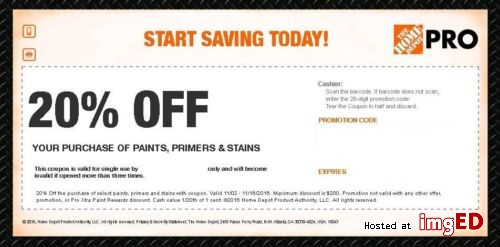 2017 Home Depot Pro 20 Off Codes